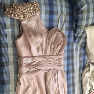 Bedazzled shoulder elegant silk dress